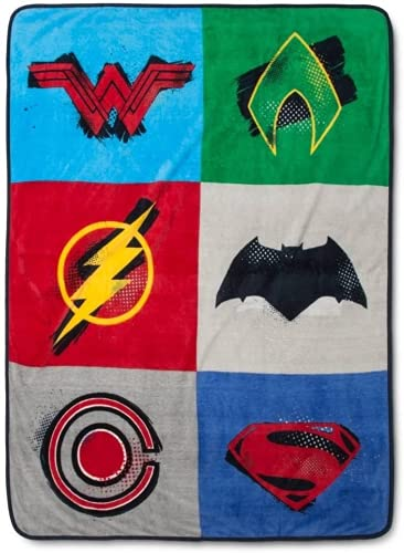 DC Comics Justice League - Coperta in peluche super morbida, per divano, coperta di lusso, in flanella (A,60 x 50 pollici)