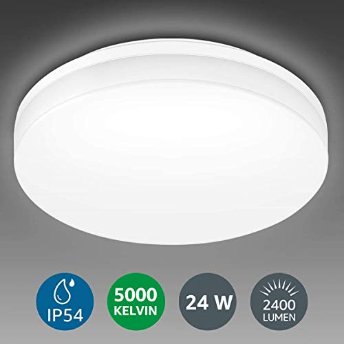 Lighting EVER 24W Deckenlampe, IP54 Wasserfest Badlampe, 5000K LED Deckenleuchte, 2400lm Lampen ideal für Badezimmer Balkon Flur Küche Wohnzimmer, Kaltweiß Badezimmerleuchte Ø33cm