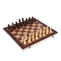 3 In1折りたたみ式木製チェスセットトラベルチェスチェッカーバックギャモンボードゲームのための伝統的な戦術戦略ゲーム (Size : 29x29cm)