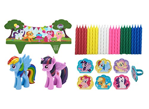 My Little Pony Its A Pony Party Officially Licensed Cake Topper with 24 My Little Pony Cupcake Topper Rings and 24 Assorted Spiral Candles