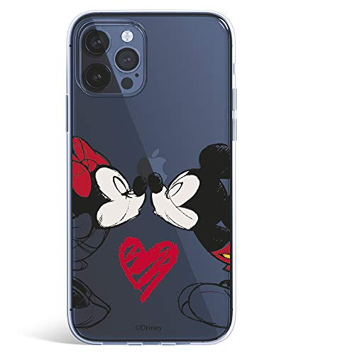 Funda para iPhone 12 Pro MAX Oficial de Clásicos Disney Mickey y Minnie Beso para Proteger tu móvil. Carcasa para Apple de Silicona Flexible con Licencia Oficial de Disney.