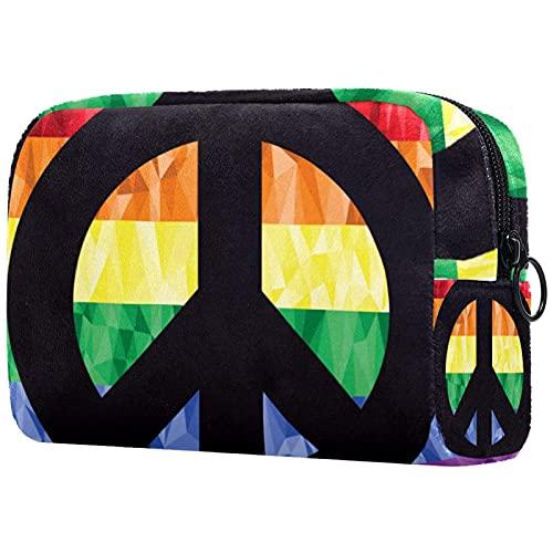 Bolsa Maquillaje Almacenamiento organización Artículos tocador cosméticos Estuche portátil Signo de la Paz Gay en la Bandera del Arco Iris para Viajes Aire Libre