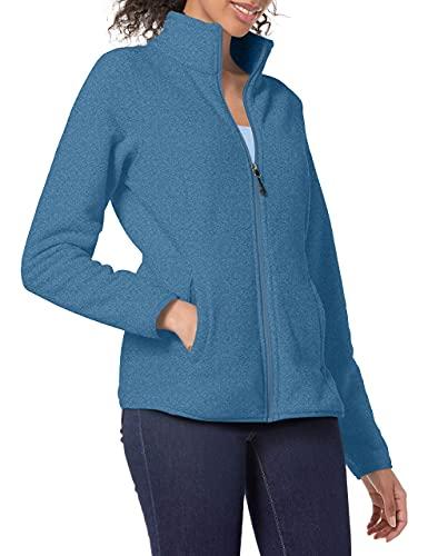Amazon Essentials Women's Full-Zip Polar Fleece Jacket, Blue Heather, XX-Large