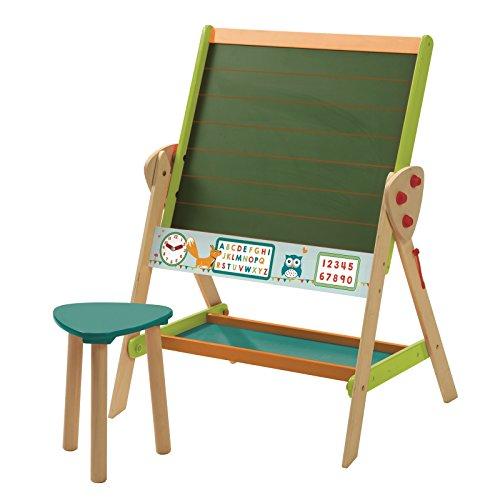 roba Tafel & Kinder-Sitz-Set 'ABC Eule', Kindertafel wandelbar zu Tisch-Stuhl-Set, Standtafel drehbar zu Kindertisch, Schreibtafel liniert, Uhr, Zahlen & Ablage, Holz natur