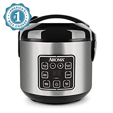 Aroma Housewares ARC-914SBD 2-8-Cups (Cooked) Digital Cool-Touch Rice Grain Cooker and Food Steamer, Stainless, 8 Cup, Silver