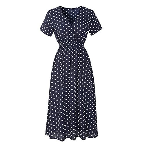 EMPERSTAR Letnia damska sukienka plażowa z nadrukiem, dekoltem w szpic i krótkim rękawem sukienka boho Granatowo-białe Kropki Xl