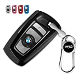 Tpu Silicone Full Protective Car Key Fob Cover for BMW,3 Buttons Remote Control Smart Key Case with Zinc Aolly Keyring, Compatible with BMW 1/3/4/5/6/7 Series and X3/X4/M5/M6/GT3/GT5,etc.-Black