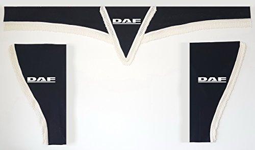 Lot de 3 rideaux noirs avec cordes blanches Taille universelle Camion Tous modèles Accessoires Décoration Tissu peluche