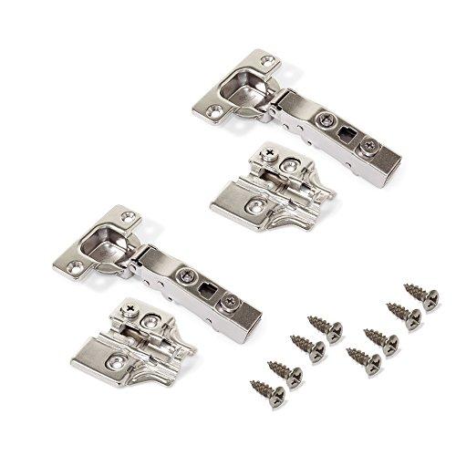 Emuca 1013907 Pack de 2 bisagras de cazoleta Ø35mm 100° para puerta solapada y suplementos para atornillar con regulación excéntrica