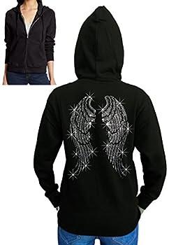 Interstate Apparel Inc Juniors Angel Wings Rhinestone Fleece Zipper Hoodie Black S-2XL  2XL  Juniors  Black