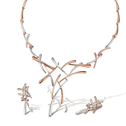 VIENNOIS Necklace and Earrings Jewelry Set Gifts fit with Wedding, Prom, Bridesmaids or Mother of Bride(Rose Gold Color)
