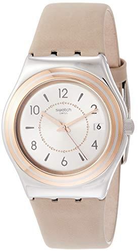 Swatch Damen Analog Quarz Uhr mit Leder Armband YLS458