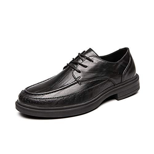 Zhulongjin Männer Casual Business-Oxfords Schuhe for Herren-Partei formales Kleid Loafers Kunstleder Wingtip Decor Antislip Sole mit Blockabsatz Mode Verschleißfest (Farbe : Schwarz, Größe : 46 EU)