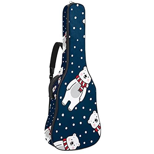 Electric Guitar Bag Padded Acoustic Guitar Gig Bag Adjustable Shoulder Strap Guitar Case Polar Bear Polka Dot Pattern