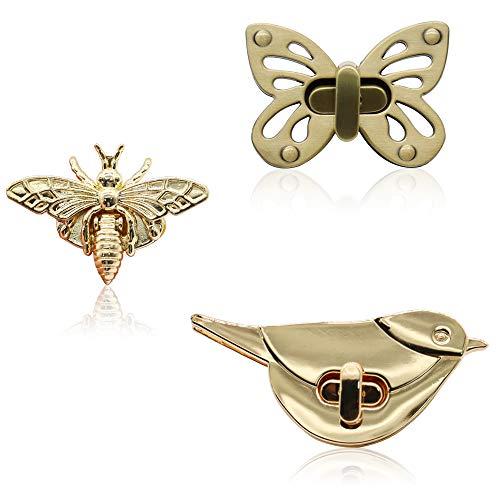 Purses Locks 3 Pieces Butterfly/Bee/Birds Shape Clasp GKONGU Turn Lock Metal Purse Twist Clutches Closures Hardware Bag Buckles for DIY Handbag Shoulder Bag Making Accessories, Mixed Color