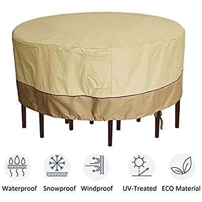 "kdgarden Outdoor Round Patio Table and 6 Chairs Set Cover, Heavy Duty Waterproof 600D Large Furniture Set Cover for All Weather Protection, 84"" Dia x 30"" H, Beige Brown"