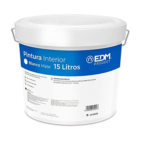 EDM 25401 Pintura Plastica Mate Interior, Blanco, 15 l (Paquete de 1)