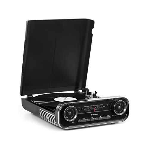 auna Challenger LP Tocadiscos con Altavoces estéreo - Tocadiscos para Vinilo , Radio FM , 3 W de Potencia Media , Bluetooth , USB , AUX , 33, 45 y 78 RPM , Tracción por Correa , Diseño Retro , Negro