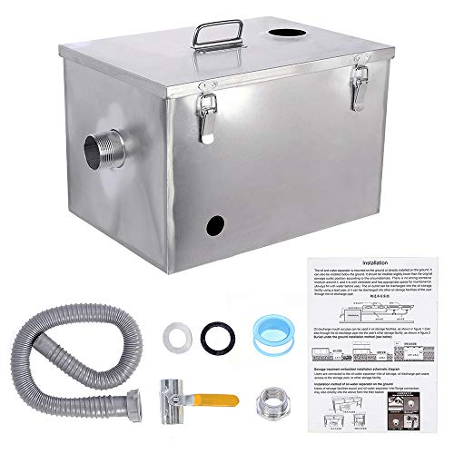 BEAMNOVA Commercial Grease Trap 8lbs Stainless Steel Interceptor Topinlet