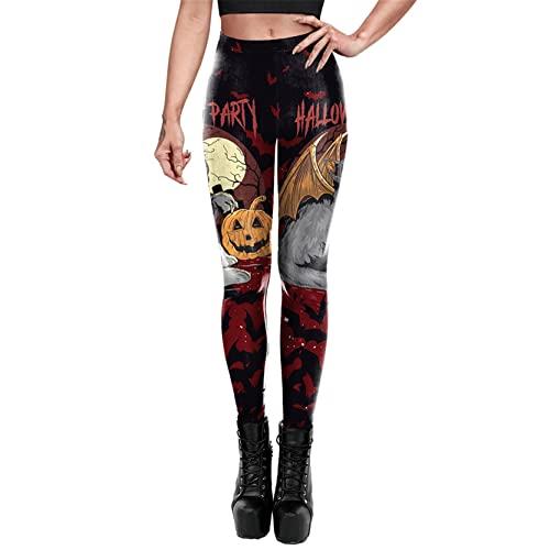 Leggins Mallas Pantalones Deportiva Niña, Señoras for mujer Halloween Calabaza Cat Bate Impresiones Leggings Pantalones de lápiz flacos elásticos Pantalones de yoga Pantalones de yoga Medias Course G