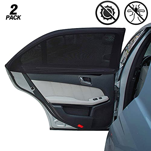 CUQOO Car Side Window Sun Shade in 2 Pack - Protects Babies, Kids & Pets From UV, Rays & Sunlight - Car Window Shades for Baby – Premium Mosquito Net Car Sun Shades - Universal Fit Car Window Shade