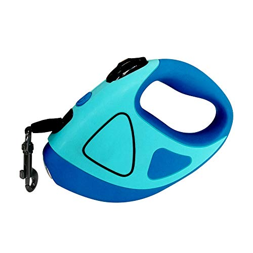 Retractable Dog/Cat lead,dog/Cat leash with LED light anti-slip hand 360 degree retractable strong nylong tape for small /large dog and Cat (BLUE, L)