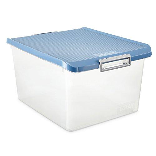 TATAY 1150005 - Caja de Almacenamiento Multiusos con Tapa, 35 l de Capacidad, Plástico Polipropileno Libre de BPA, Azul, 37,7 x 47,5 x 26 cm