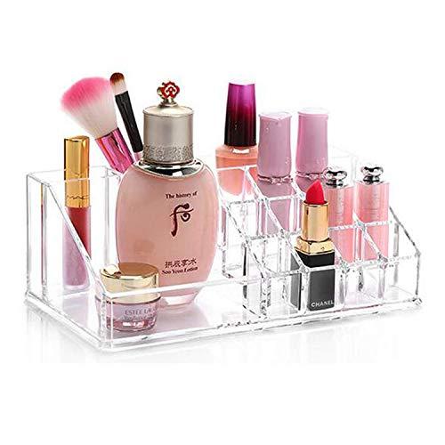 Organizador de cosmeticos transparente acrílico,Caja de almacenamiento de maquillaje transparente, organizador expositor de pintalabios Crystal para pincel, esmalte de uñas y joyas para mujer y niña