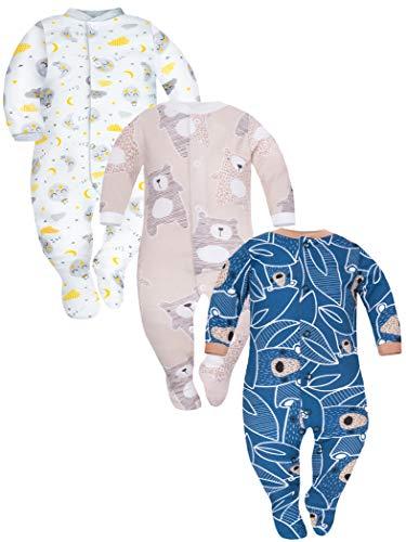 Sibinulo Niño Niña Pijama Bebé Pelele de ABS -Tamaños 80-92 - Pack de 3