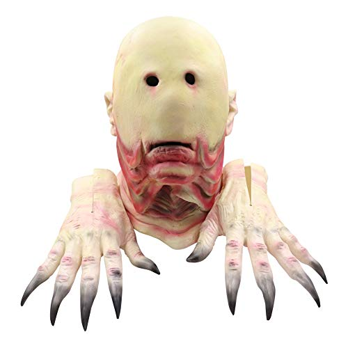 HAPPY & HOME Pan God's Maze Character Eyeless Monster Full Face Latex Mask, Handschoenen, Cannibalistische Horror Halloween Kostuum Props, Unisex One Size