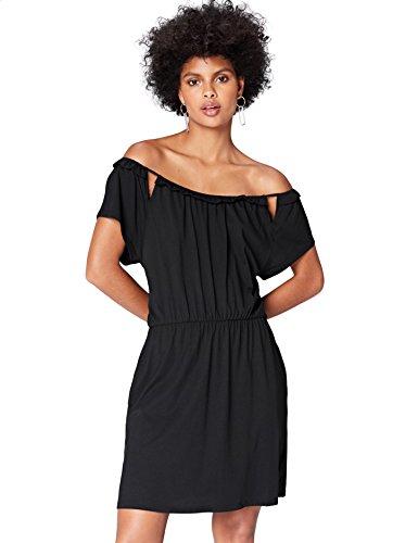 find. Kleid Damen tailliert mit schulterfreiem Carmen-Design , Schwarz (Black), 36 (Herstellergröße: Small)