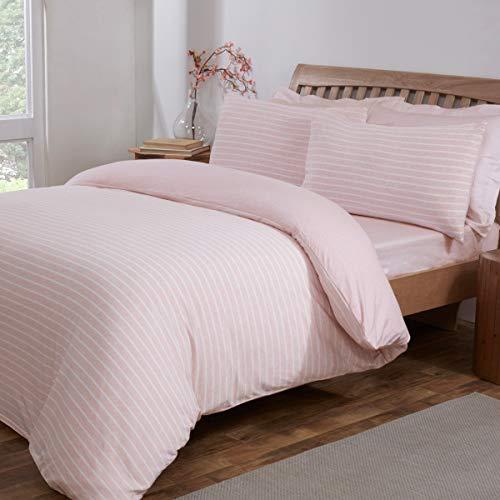 Sleepdown Stripe Pink White Jersey Melange Warm Cosy Soft Easy Care Plain Reversible Duvet Cover Quilt Bedding Set with Pillowcases - Double (200cm x 200cm)