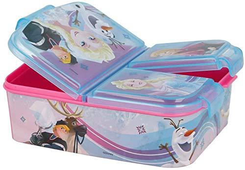 Eiskönigin Kinder Brotdose mit 3 Fächern, Kids Lunchbox,Bento Brotbox für Kinder - ideal für Schule, Kindergarten oder Freizeit