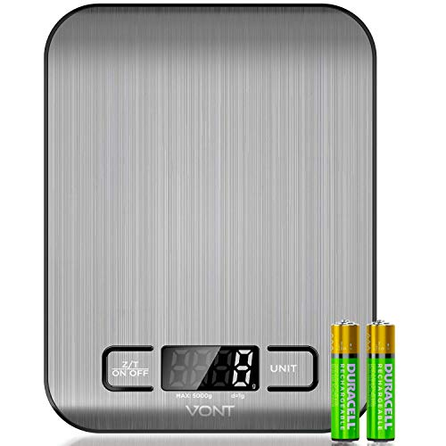 Digital Kitchen Scale/Food Scale, 50% More Precise, Used By Celebrity Chefs, Gorgeous Compact Design, Easy to Clean Slick Stainless Steel, Back-lit LCD Screen, (Batteries Included)