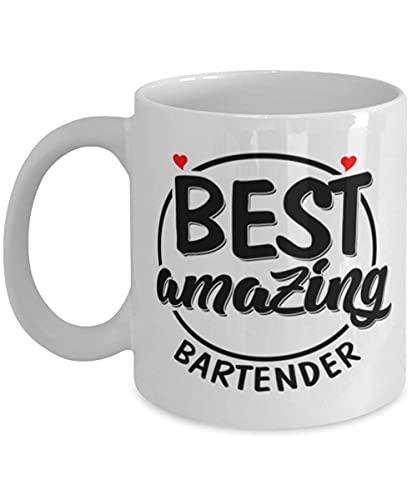 Taza de café con inscripción 'Best Amazing Barkeeper'