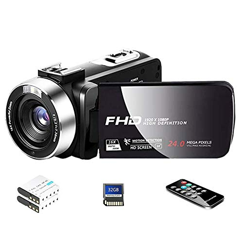 Camcorder Digital Camera with HD Digital Video Camera 24.0Mega Pixels 16X Digital Zoom for Selfie Pause Function (Two Batteries and 32GB SD Card Included) (Black)