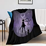 Sailor Manga M-oon Blanket Fleece Warm Throw Blankets 50 X 60 inch Lightweight Ultra-Soft Micro Fleece Couch Cover Bed Home Decor Blanket Microfiber for Adults Teenager (1)