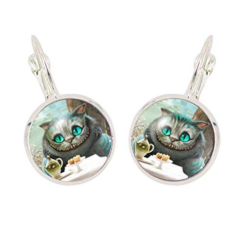 Joyplancraft Pendientes inspirados en Alicia en el país de las maravillas, diseño de gato de...
