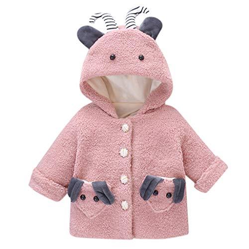 Deloito Kleinkind Baby Baumwolljacke Kinder Jungen Mädchen Outwear Cartoon Plüsch Wintermäntel Dicker Kapuzen Umhangjacke Fleece Schneeanzug (Rosa-A,2-3 T)