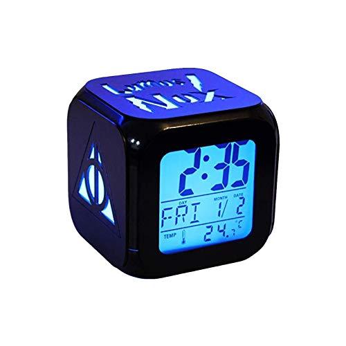 QMMCK 3D Estéreo Despertador LED Mute Noche Luz Tecnología Moda Despertador - Muerte Instrumento Sagrado (Siete Colores)