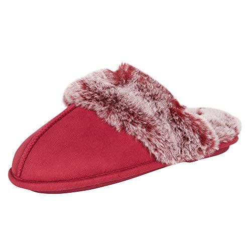 Jessica Simpson Women's Comfy Faux Fur House Slipper Scuff Memory Foam Slip on Anti-Skid Sole, Burgundy, Large