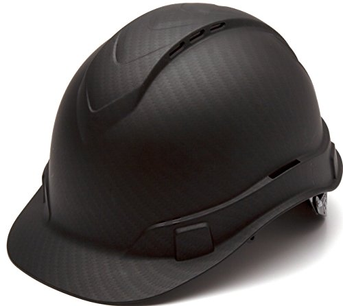 Pyramex Ridgeline Cap Style Hard Hat, Vented, 4-Point Ratchet Suspension, Black Graphite Pattern