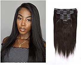 Lacerhair Human Light Yaki Hair Clip in Hair Extensions Afro Kinky Straight Natural Black Color For American African Yaki Hair Double Weft Full Head Relaxd Hair 120G 7Pieces 10-22 inch (14 inch, Yaki #1B)