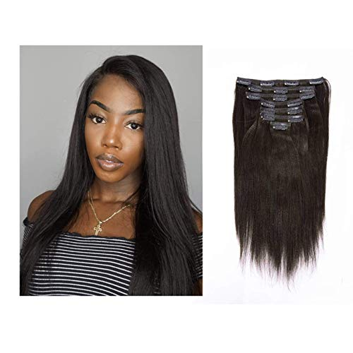 Lacerhair Light Yaki Hair Clip in Hair Extensions Remy Human Hair Kinky Straight Natural Black Color For American African Double Weft Full Head Relaxd Hair 120G 7Pieces 10-22 inch (16 inch, Yaki #1B)