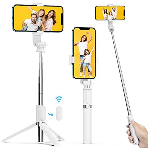 ATUMTEK Bastone Selfie per Iphone, 103cm Estensibile Selfie Stick Treppiede Smartphone con Telecomando Bluetooth Wireless Rimovibile, Compatibile con iPhone Samsung Huawei LG HTC 4,7-6,5in ecc, Bianca