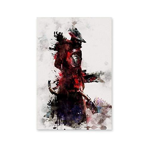 Póster decorativo de Bloodborne de sangre, lienzo para pared, para sala de estar, dormitorio, pintura de 20 x 30 cm