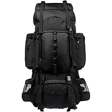 AmazonBasics Internal Frame Hiking Backpack with Rainfly, 75 L, Black