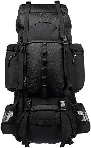 Amazon Basics - Wanderrucksack mit Innengestell und Regenschutz, 75 L, Schwarz