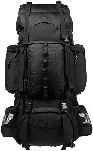 AmazonBasics Internal Frame (Hardback) Hiking Backpack with Raincover, 75Liters (Black)