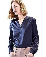 SIXIULIYU Women Mulberry Silk Shirts Long Sleeve V Collar Top Ladies Office Blouse (01, L)